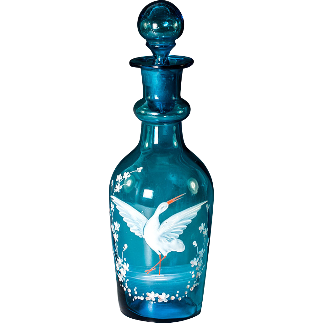 Antique Full Carafe, French Electric Blue Glass with Hot Enamel Decoration - Decanter