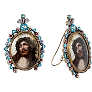 "Antique Italian 5.5"" Micro Mosaic Frame with Painting of Christ on Porcelain Plaque, Easel Back, Micromosaic Flowers VGC"