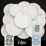 "Elegant Antique - Vintage French LIMOGES 14pc 8.5"" Luncheon or Dessert Plate Set, Gold Monograms"