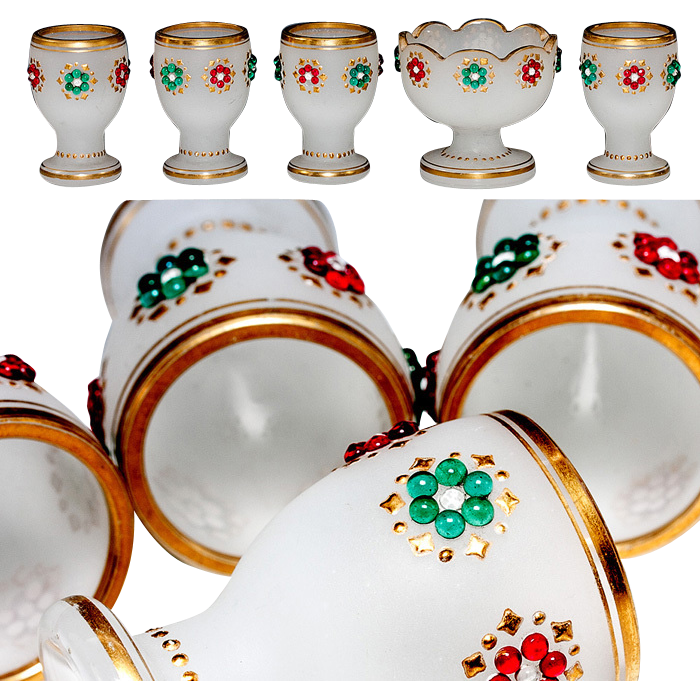 Antique French Opaline Breakfast Set, Egg Cups Holders and Condiment Dish, Jeweled with Gold Rim