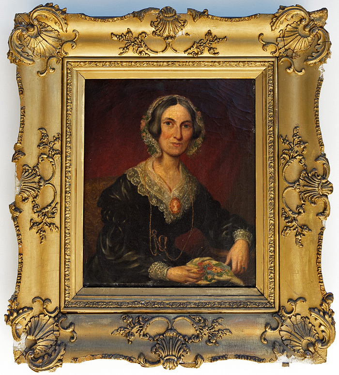 "Fine Attired Georgian to Victorian Lady, Portrait in Oil on Canvas, Original Frame 25"" x 23"""