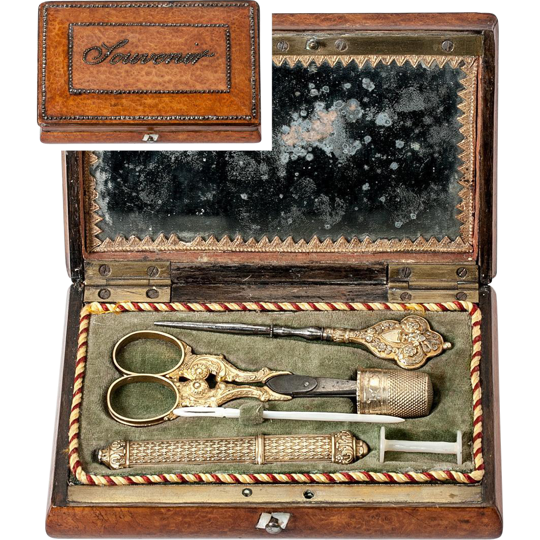Antique French Sterling Silver Vermeil Embroidery or Sewing Tools Set in Souvenir Case, Box, Etui