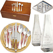 "Elegant Vintage French PUIFORCAT 88pc Sterling Silver Flatware Set: Art Deco ""Beaulieu"" Pattern w/ Wood Chest"