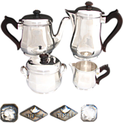Complete 4pc Vintage French Sterling Silver Tea Set, Two Pots, 52 troy ounces