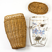 Antique French Enamel Glass Vichy or Picnic Glass, Woven Basket Case, c.1850s