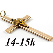 "Antique Victorian Era 14K Yellow Gold Large 2.5"" Cross, Seed Pearl Pendant"
