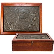 Wonderful Antique Box, Bas Relief Cast of Stag, Mountain Scene Set into Lid, Cigars? Shell or Letters?