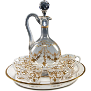 """Antique French Baccarat or St Louis 11"""" Decanter, Tray & 6 Cups, Raised Gold Enamel on Crystal Liqueur Set"""
