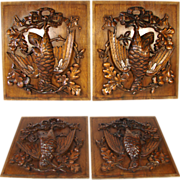 "LG Antique Victorian Era 18.25"" Black Forest Carved Cabinet or Furniture Door PAIR, Wall Plaques with ""Fruits of the Hunt"" Theme"