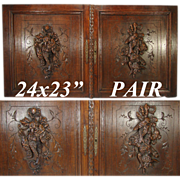 "LG Antique Victorian Era 24"" x 23"" Black Forest Carved Oak Cabinet or Furniture Door PAIR, Wall Plaques with ""Fruits of the Hunt"" Theme"