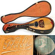Fine Antique French Phebe Mandolin, Rosewood Bowlback w/ Original Shaped Wood Case
