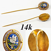 Fine Antique Victorian Era Micro Mosaic Cravat or Stick Pin, 14k - 15k Gold Mount, Micromosaic