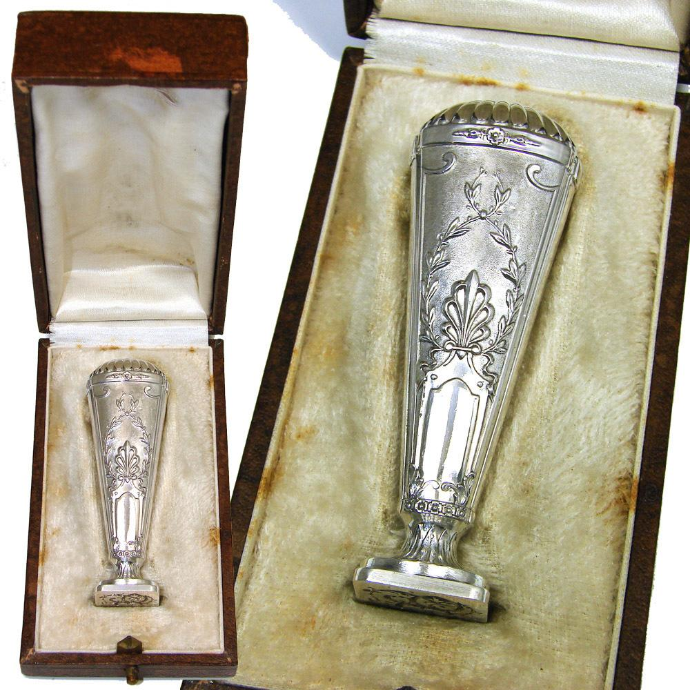 Antique French Hallmarked Silver Wax Seal or Sceau: Empire or Aesthetic Style & Original Box