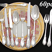 Gorgeous Antique French Sterling Silver 60pc Flatware Set, 10pc Setting for SIX: Ornate Louis VI Rococo Style