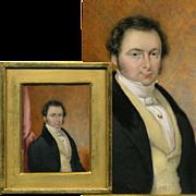 Antique French Portrait Miniature, Painting, Wood Frame, ID'd as T. Constant DENIS, 1832