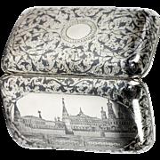 "RARE c1889 Antique Russian Sterling Silver Niello Cigar Cheroot Case, Kremlin, ""84"" Marks, Anatoly Apollonovich Artsybashev"