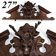 Antique Hand Carved Black Forest Stag & Antlers Fronton, Top for Doorway, Armoire,