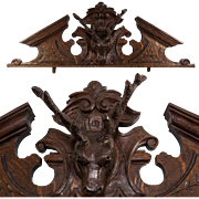 Antique Hand Carved Black Forest Stag & Antlers Pediment, Fronton, Top for Doorway, Armoire,