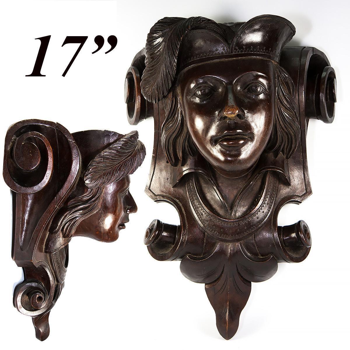 "Large 17"" Antique Carved Wood Figural Wall Shelf, Bracket Shelf Renaissance Theme, Victorian Era"