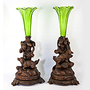 Antique Pair Black Forest Hunt Theme Candle or Epergne Stands, Dog and Hare, Rabbit