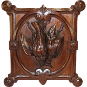 """Antique Victorian Carved Oak Black Forest """"Fruits of the Hunt"""" Wall Plaque, Two Game Birds & Unique Shape"""