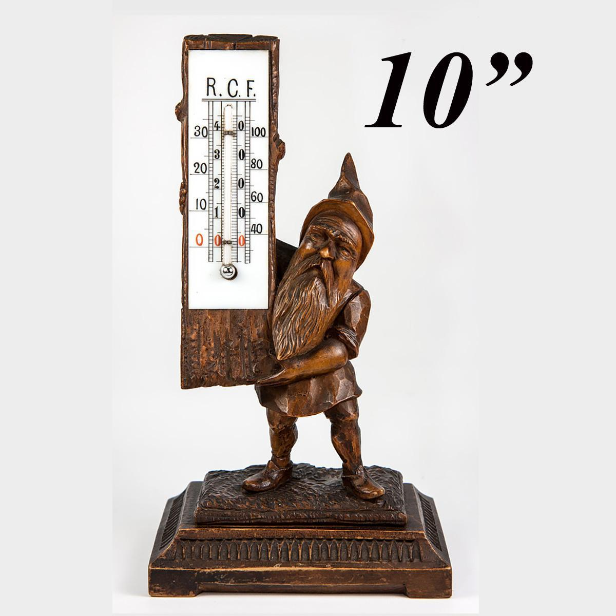 Antique Black Forest Carved Wood Gnome Desk Top Thermometer Stand, c.1880s