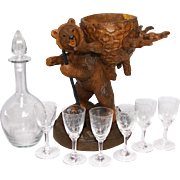 "Fine Antique Black Forest Hiking Bear is a 15.5"" Tall Liqueur Tantalus, Stand: Decanter & 6 Cordials"