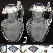 "Antique French Sterling Silver & Intaglio Etched Glass 6.5"" Claret Jug PAIR, Carafon"
