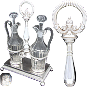 "Antique French Louis Philippe Era Sterling Silver 13.5"" Oil & Vinegar Cruet Stand, 1819-1838 Marks"