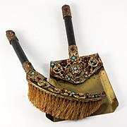 RARE Antique Austrian Jeweled Crumb Tray, Brush, c.1840-60 Victorian Jewel!