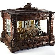 Antique Carved Wood Black Forest Tantalus, Vitrine or Liqueur Bar, Cabaret