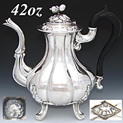 Antique Belle Epoch Era French Sterling Silver Full Sized 40oz Coffee or Tea Pot, Aesthetic Style
