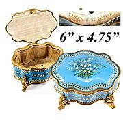 "BIG Antique TAHAN Signature Bresse or Sevres Kiln-fired Enamel Box, Casket, 6"" x 4.75"" Serpentine Form, Jeweled"