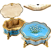 "BIG Antique TAHAN Signature Bresse or Sevres Kiln-fired Enamel Box, Casket, 6"" x 4.75"" Serpentine Form, Jeweled"