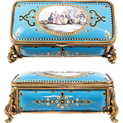BIG Antique French Kiln-fired Enamel Jewelry or Gloves Box, Casket, Bresse Jewel & Scene