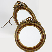 "Antique French Dore Bronze 5 3/8"" Round Frame w Bow Top, Wood Mat"