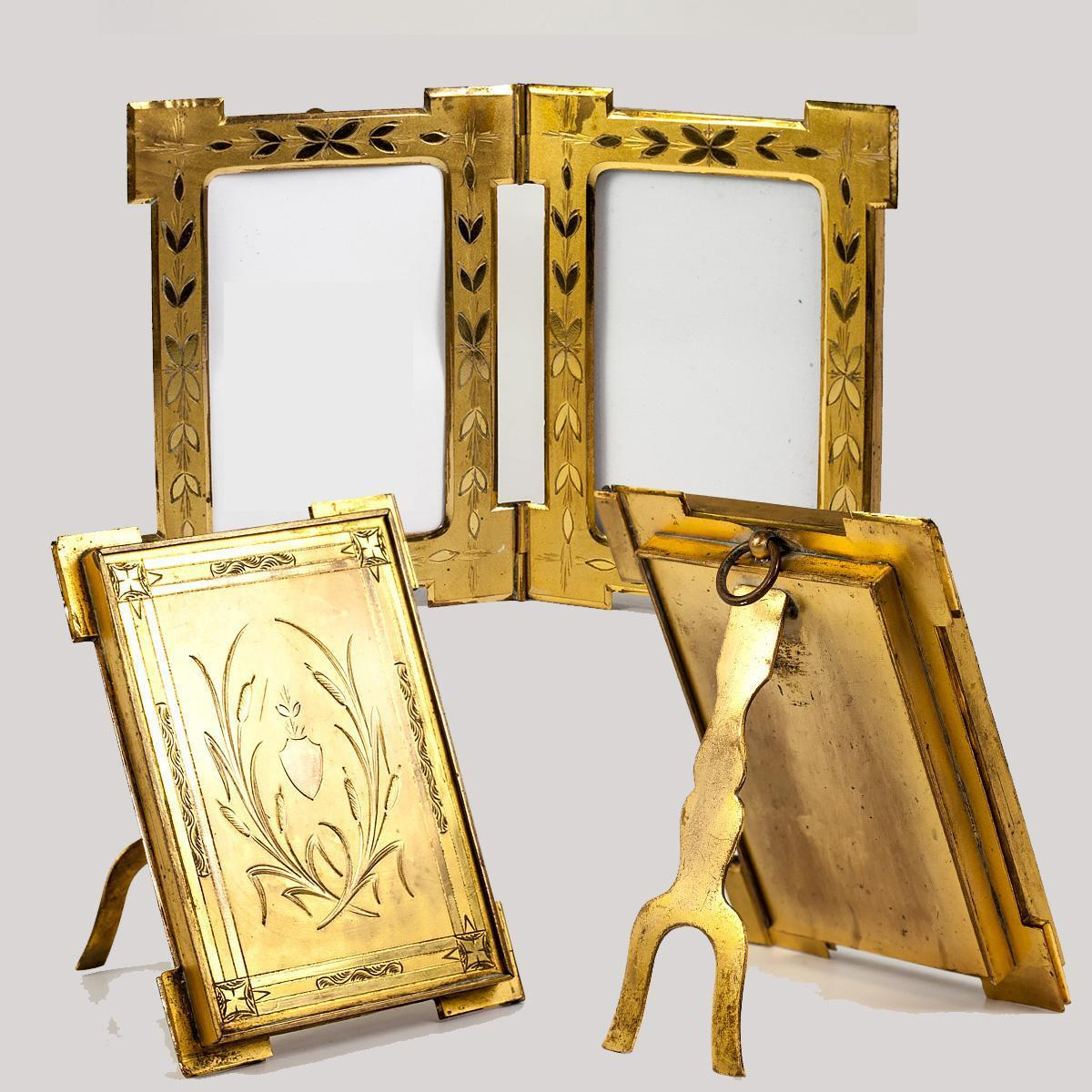 Antique French Dore Bronze Locket-Hinged Double Frame, Carte de Visite c.1860s
