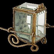 Antique French Pocket Watch Vitrine, Display Box, Case, Glass & Ormolu Sedan Chair