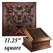 "Superb Antique French Hand Carved Wooden 11.25"" Square Box, Casket, Florentine Renaissance Figural Chimera"