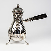"Sweet Antique French Sterling Silver Chocolate Pot, 7"" Tall Solitaire, Tea or Coffee, Tetard (c. 1880-1903)"
