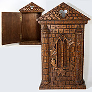 Antique Hand Carved Black Forest Key Cabinet, Wall Mount Cubby, Gothic Influence