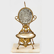 Antique Palais Royal Trinket Pocket Watch Stand, Mother of Pearl Egg, Miniature Chair