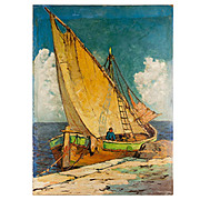 Superb Vintage French Impressionist Seascape, Oil Painting on Board, Fishing Boat, no Frame