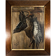 "Artist Signed Antique French Oil Painting, Trompe L'oeil Duck Still Life in Oak Frame 31.75"" x 25.75"""