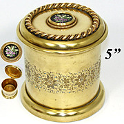 Lovely Antique Napoleon III Era Gilt Bronze Humidor, Tobacco Jar, Pietra Dura Style Painted Medallion
