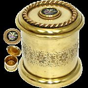 Lovely Antique Napoleon III Era Gilt Bronze Humidor, Tobacco Jar, Pietra Dura Style Painted Medallion