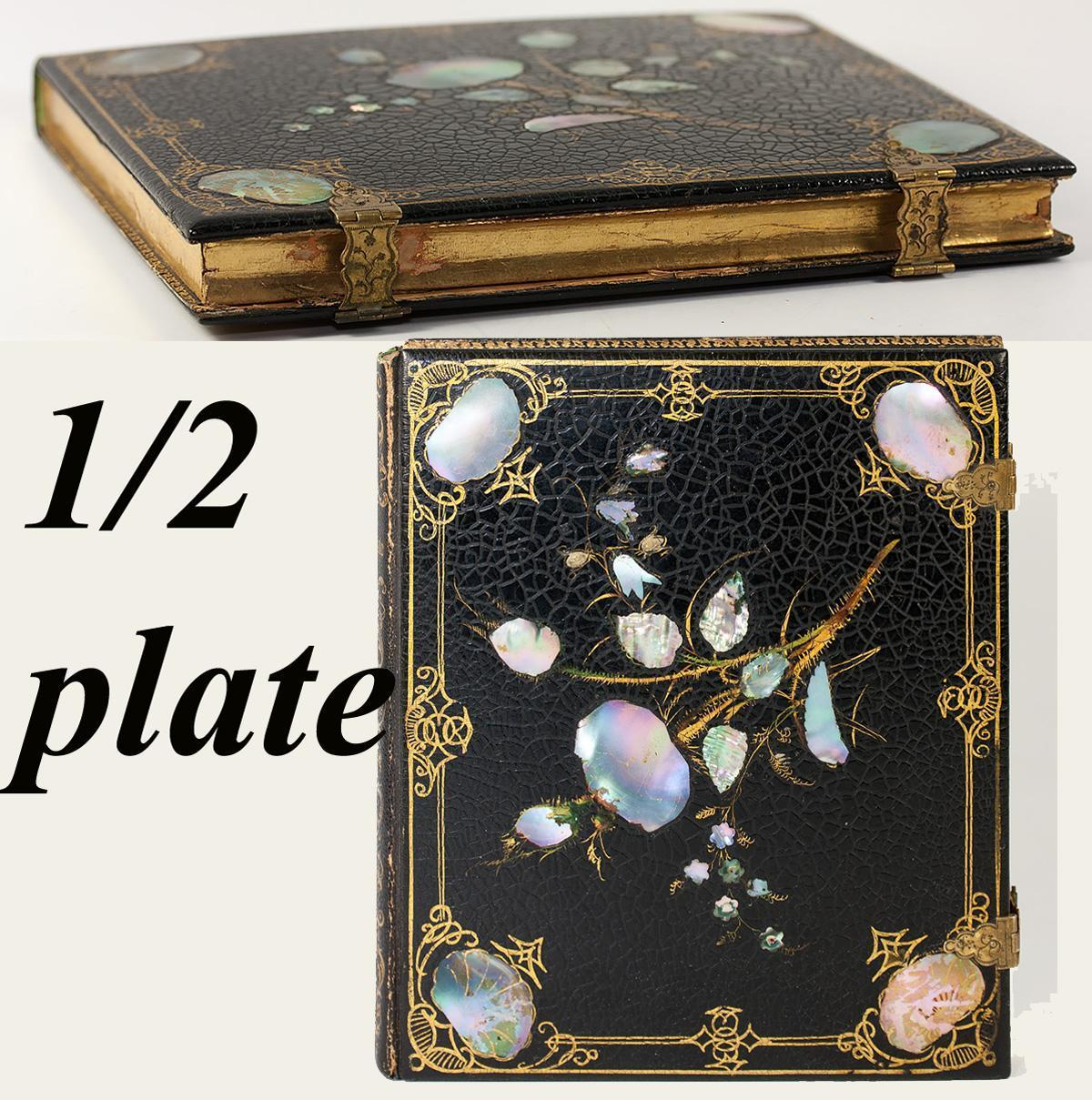 V RARE Antique Papier Mache Union Case, Half Plate, 1/2 Plate Daguerreotype Case