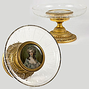 Antique Baccarat Crystal Tazza with Mounted Portrait Miniature, Dore Bronze Base