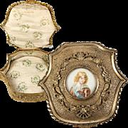 Antique French Dore Bronze Jewelry Box, Casket, Napoleon's Son Portrait up Top
