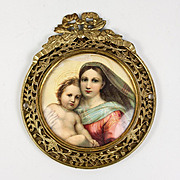 Antique French Devotional, Mary and Christ Miniature Portrait in 19th c. Frame